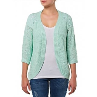 Only Wool Self Design Mint Coloured Cardigan