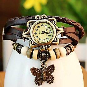 Kayra Beige Round Dial Brown Leather Strap Analog Bracelet Design Watch For Women