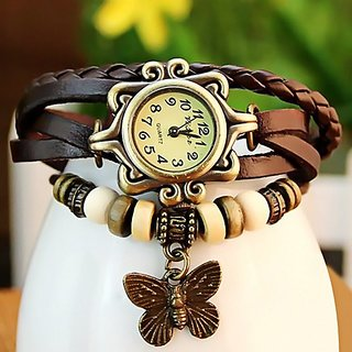 Kayra Beige Round Dial Brown Leather Strap Analog Bracelet Design Watch For Women