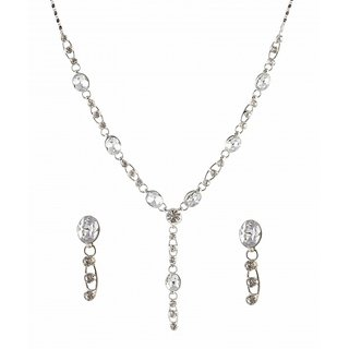 Urthn by JewelMaze Austrian Stone Rhodium Plated Necklace Set-AAB0004