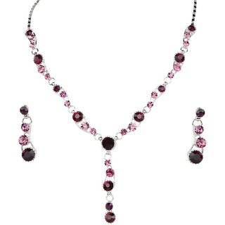 Urthn by JewelMaze Pink Austrian Stone Rhodium Plated  Necklace Set-AAB0005