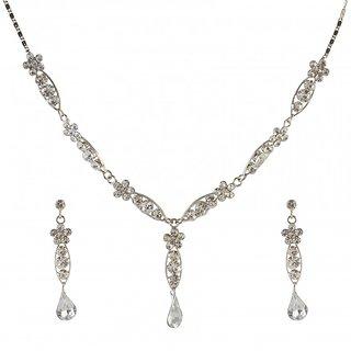 Urthn by JewelMaze Austrian Stone Rhodium Plated  Necklace Set-AAB0010