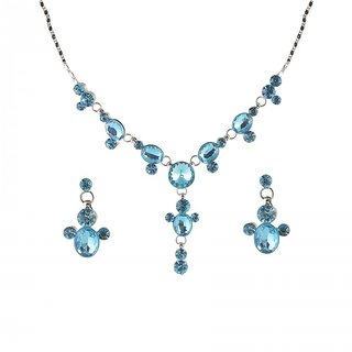 Urthn by JewelMaze Blue Austrian Stone Rhodium Plated Necklace Set-AAB0011