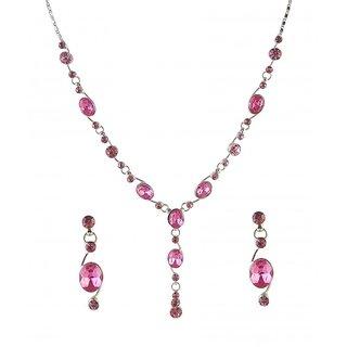 Urthn by JewelMaze Pink Austrian Stone Rhodium Plated Necklace Set-AAB0012