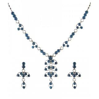 Urthn by JewelMaze Blue Austrian Stone Rhodium Plated Necklace Set-AAB0014