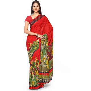 Aaina Red Georgette Printed Saree With Blouse