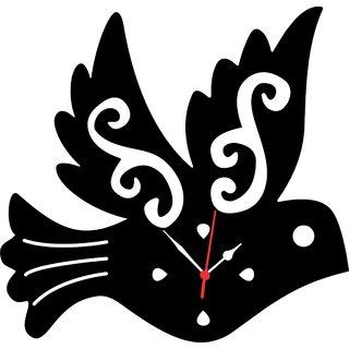WALL CLOCK IN BIRD SHAPEMDF WOODEN SIZE 9 INCH