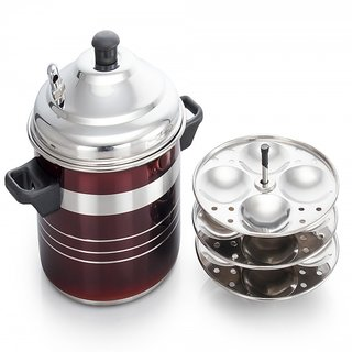 Mahavir 12pc  2 Ltr Induction Friendly Steel Color Idly Cooker