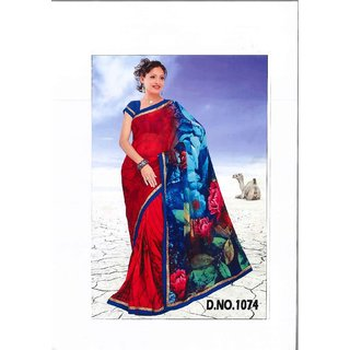 red sari with blue border