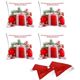 meSleep Set of 4 White Quotes Christmas Digitally Printed Cushion Cover (16x16)-With Free 2 Pcs Free Christmas Hats