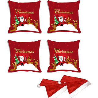 meSleep Set of 4 Red Merry Christmas Santa Digitally Printed Cushion Cover (16x16)-With Free 2 Pcs Free Christmas Hats