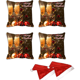 meSleep Set of 4 Multi Christmas Glass Digitally Printed Cushion Cover (16x16)-With Free 2 Pcs Free Christmas Hats