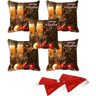 meSleep Set of 5 Multi Christmas Glass Digitally Printed Cushion Cover (16x16)-With 2 Pcs Free Christmas Hats