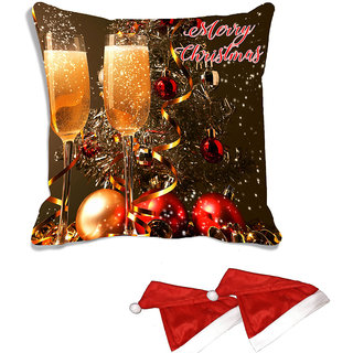 meSleep Multi Christmas Glass Digitally Printed Cushion Cover (With Filling - 16x16 Inches) - With 2 Pcs Free Christmas Hats