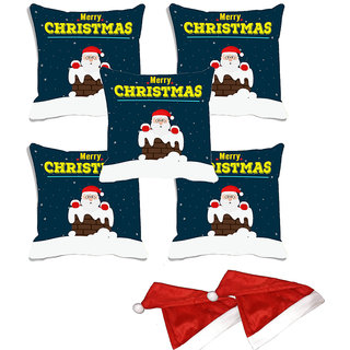 meSleep Set of 5 Multi Merry Christmas  Digitally Printed Cushion Cover (16x16)-With 2 Pcs Free Christmas Hats
