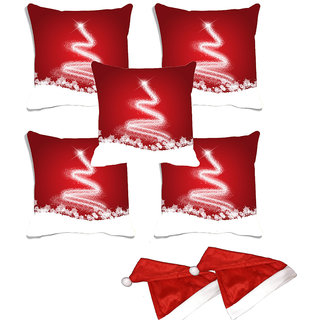 meSleep Set of 5 Red  Christmas  Digitally Printed Cushion Cover (16x16)-With 2 Pcs Free Christmas Hats