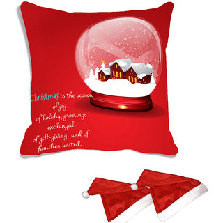 meSleep Red Christmas House   Digitally Printed Cushion Cover (16x16) - With 2 Pcs Free Christmas Hats