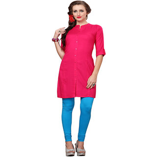 Minu Suits Hot Pink Casual Floral Print Women's Kurti