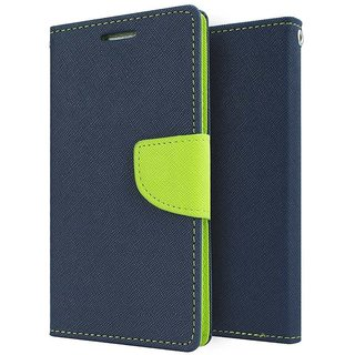 Mercury Wallet Flip case cover for Lenovo A1000  (BLUE)