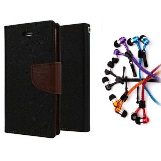 Samsung Galaxy Core I8262 Wallet Diary Flip Case Cover Brown With Zipper Earphone