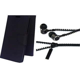 Mercury Wallet Flip case cover for Lenovo A2010  (BLACK) With Zipper Earphone(Assorted Color)
