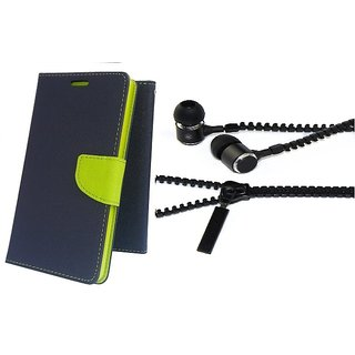 Mercury Wallet Flip case cover for Reliance Lyf Earth 1  (BLUE) With Zipper Earphone(Assorted Color)
