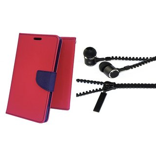 Mercury Wallet Flip case cover for Sony Xperia E4 G  (PINK) With Zipper Earphone(Assorted Color)
