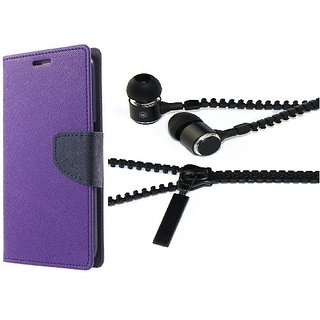 Mercury Wallet Flip case cover for Micromax Canvas Play Q355  (PURPLE) With Zipper Earphone(Assorted Color)