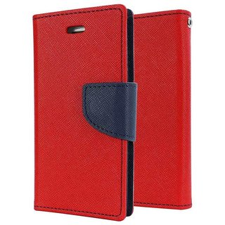 Mercury Wallet Flip case cover for Reliance Lyf Wind 4  (RED)