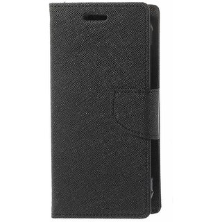 Mercury Wallet Flip case cover for Lenovo A7000  (BLACK)
