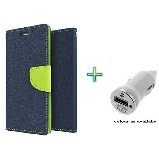 Mercury Wallet Flip case cover for Micromax A106 Unite 2  (BLUE) With Car Adapter(Assorted Color)