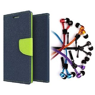Mercury Wallet Flip case cover for Micromax Canvas Spark Q380  (BLUE) With Zipper Earphone(Assorted Color)