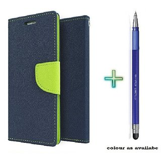 Mercury Wallet Flip case cover for Micromax Bolt Q324  (BLUE) With Stylus Touch Pen(Assorted Color)