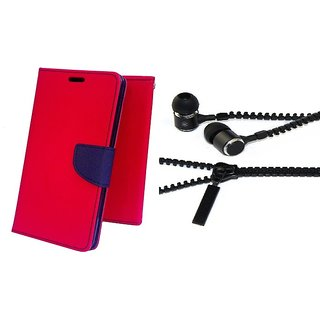 Mercury Wallet Flip case cover for Micromax Canvas Blaze 4G Q400  (RED) With Zipper Earphone(Assorted Color)