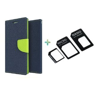 Mercury Wallet Flip case cover for Micromax Canvas Selfie 3 Q348  (BLUE) With Nossy Nano Sim Adapter