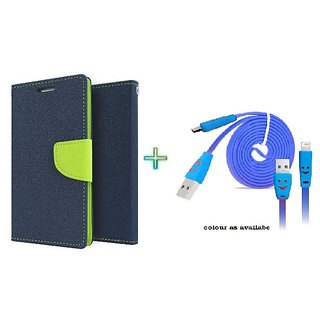 Mercury Wallet Flip case cover for Reliance Lyf Flame 4  (BLUE) With Micro Usb Smiley Cable(Assorted Color)