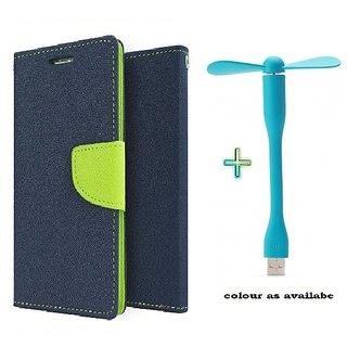 Mercury Wallet Flip case cover for Micromax Canvas Play Q355  (BLUE) With Usb Fan (Assorted Color)