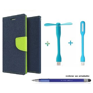 Wallet Flip cover for Reliance Lyf Flame 3  (BLUE) With Usb Fan & Usb Light & Stylus Touch Pen (Assorted Color)