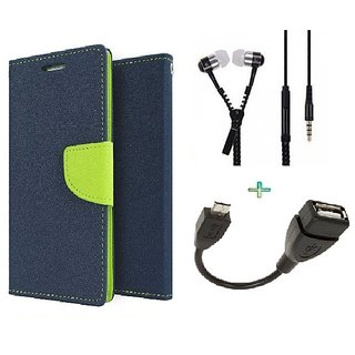 Wallet Flip cover for Reliance Lyf Flame 3  (BLUE) With Zipper Earphone(3.5mm) & Micro otg Cable(Assorted Color)