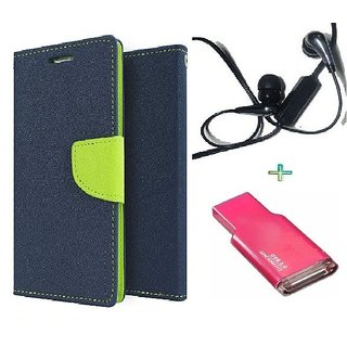 Wallet Flip cover for Micromax Canvas Play Q355  (BLUE) With Raag Earphone(3.5mm) & Memory Card Reader(Assorted Color)