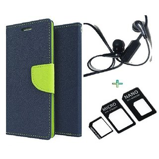 Wallet Flip cover for Micromax Canvas Play Q355  (BLUE) With Raag Earphone(3.5mm) & Nossy NanoSim Adapter(Assorted Color)