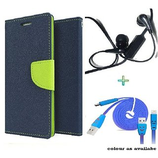 Wallet Flip cover for Micromax Canvas Selfie Lens Q345  (BLUE) With Raag Earphone(3.5mm) & Micro Usb Smiley Cable (Assorted Color)