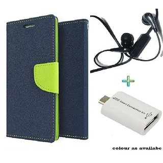 Wallet Flip cover for Micromax Canvas Fire A093  (BLUE) With Raag Earphone(3.5mm) & Micro otg Smart (Assorted Color)