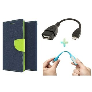 Wallet Flip cover for Reliance Lyf Wind 6  (BLUE) With micro Otg cable & usb light (Assorted Color)