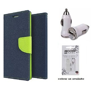 Wallet Flip cover for Reliance Lyf Wind 4  (BLUE) With Car Adapter & Nossy Nano Sim Adapter (Assorted Color)