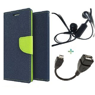 Wallet Flip cover for Micromax Canvas Play Q355  (BLUE) With Raag Earphone(3.5mm) & Micro otg Cable (Assorted Color)