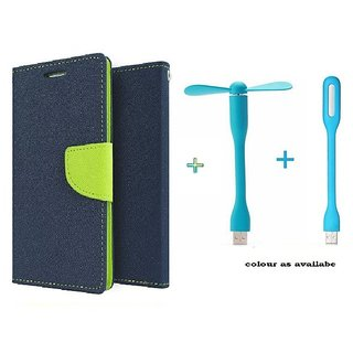 Wallet Flip cover for Micromax Bolt S302   (BLUE) With usb fan & Usb light (Assorted Color)