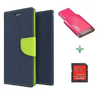 Wallet Flip cover for Reliance Lyf Flame 4  (BLUE) With Memory Card Reader & SdCard Adapter (Assorted Color)