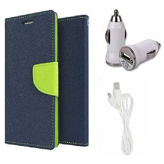 Wallet Flip cover for Micromax A106 Unite 2  (BLUE) With Car Adapter & Micro Usb Cable (Assorted Color)