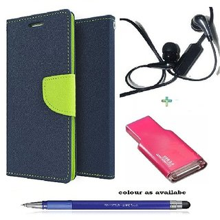 Wallet Flip cover for Samsung Galaxy A7 (2016)  (BLUE) With Earphone(3.5mm) & Memory Card Reader &  Stylus Touch Pen(Assorted Color)